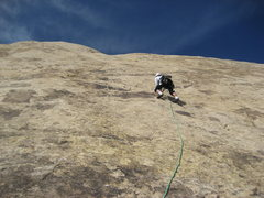 Rock Climbing Photo: Paul starting the long third pitch  Excellent sust...