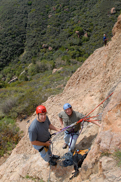 Rock Climbing Photo: David & David hanging out atop the first pitch of ...