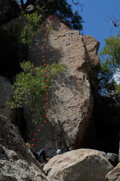 Route topo for Miss Pacman (the Grotto, Echo Cliffs)