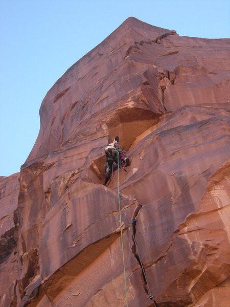 Rock Climbing Photo: In the dihedral on the first pitch.  The second pi...
