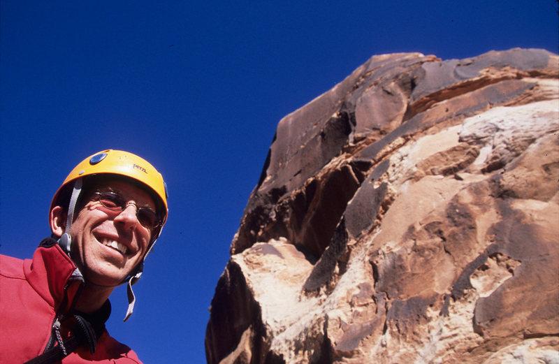 Ian below the summit cone bolt ladder.