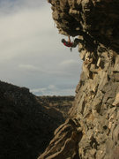 """Rock Climbing Photo: Aaron in the roof on """"Natural Selection.&quot..."""
