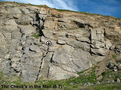 Rock Climbing Photo: The Check's in the Mail (5.7), Riverside Quarry