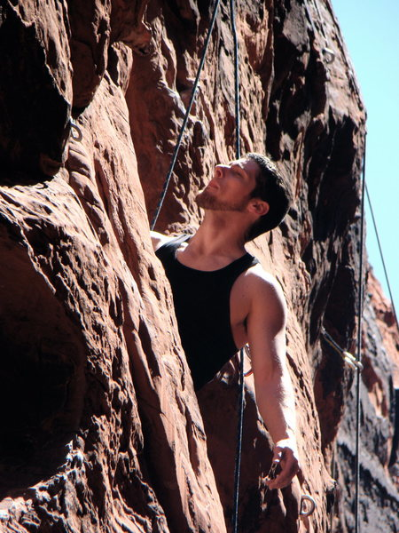 Rock Climbing Photo: Approaching the final move of Nightmare On Crude S...