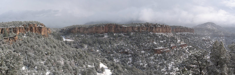 Rock Climbing Photo: Cactus Cliff viewed from Bank Campground after a w...
