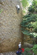 Rock Climbing Photo: Jason near the third bolt of Armadillo Waffles wit...