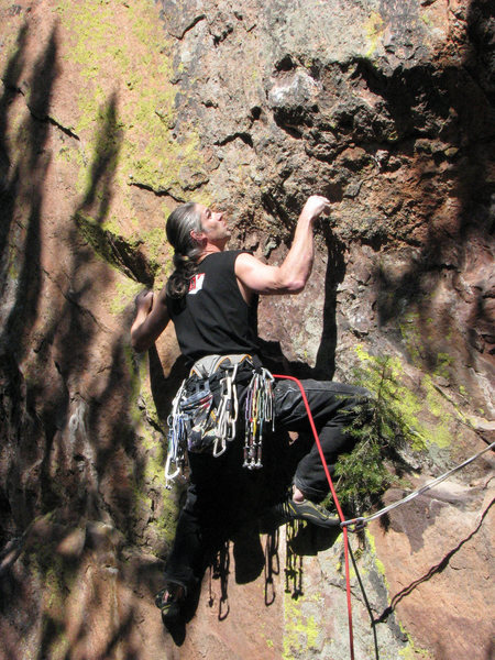Approaching the crux sequence on the FA.<br> <br> Photo: Cory Fleagle.