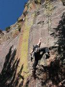 Rock Climbing Photo: In the crux on the FA.  Photo: Cory Fleagle.