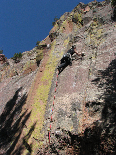 Done with the crux, with ~60' of fun 10 and 11 climbing above.<br> <br> Photo: Cory Fleagle.