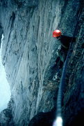 Rock Climbing Photo: Dan Brennan from the top of the Red Wall.  1997?