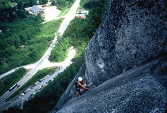 Rock Climbing Photo: Jenna following on Dierdre.  Squamish BC. 1997.