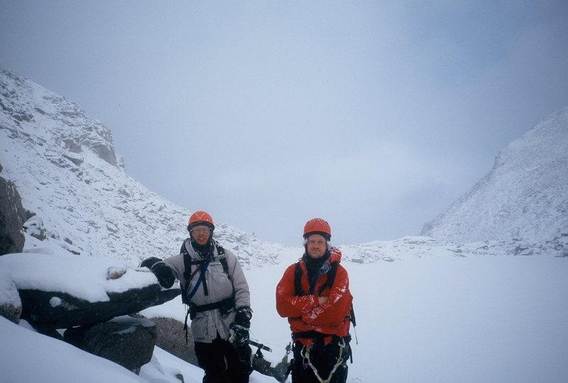 Dwane Walters and Alan Ream- Chasm Lake, Longs Peak. Winter 1999?