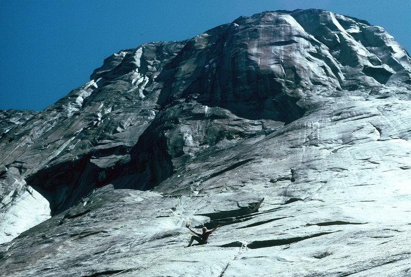 Steve Schneider and Heather on the Free Blast.  Triple Direct- Yosemite, with Dan Brennan.  1997?