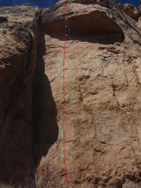 Rock Climbing Photo: Red line is the route. Blue circles are the bolt l...