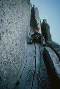 Rock Climbing Photo: Alan leading on Halfdome (photo by Jenna).  2000.