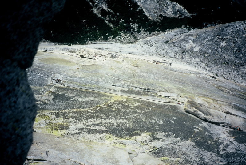 Looking down at the Thank God ledge traverse. Regular NW Face Halfdome.  2000.