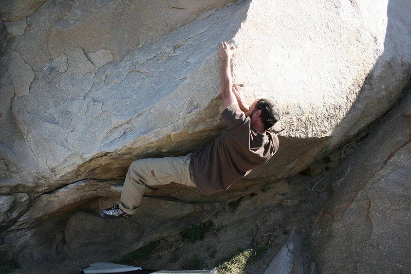 Rock Climbing Photo: Nathen working the Beach Problem #2