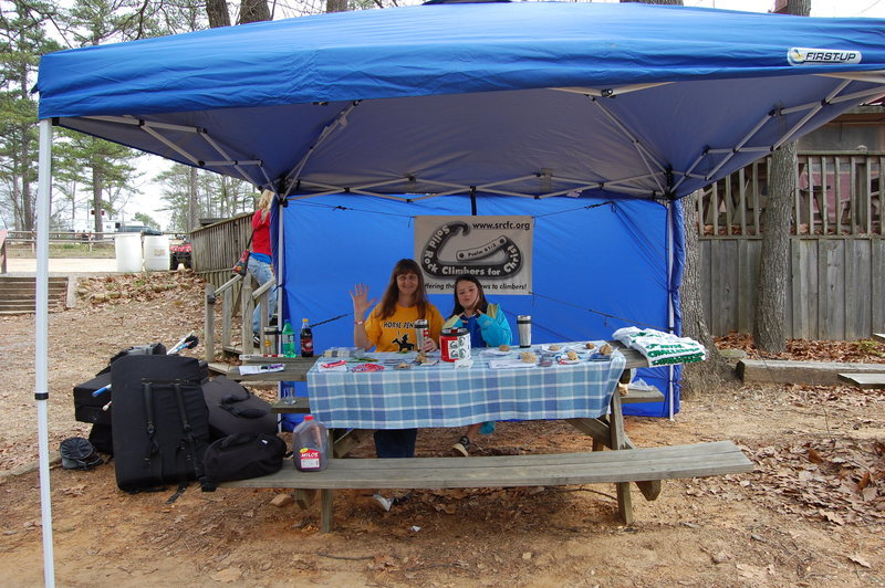 Rock Climbing Photo: Phyllis and Kianna working at the SRCFC tent @ slo...