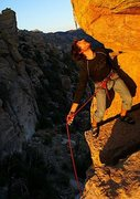 Rock Climbing Photo: at an awkward clipping stance about 1/2 way up the...