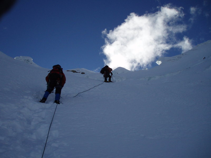 Approaching the upper headwall
