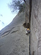 Rock Climbing Photo: Sean at the initial crack of Roadside attraction, ...