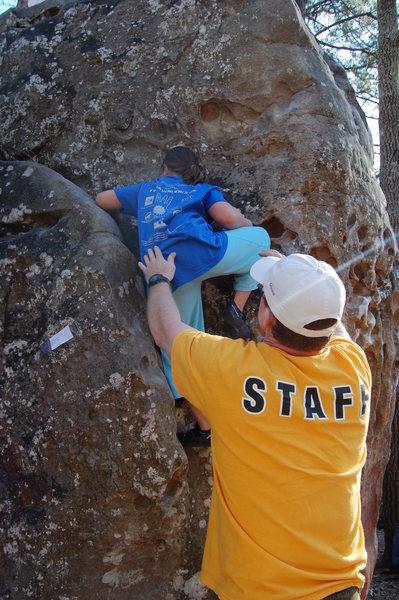 Rock Climbing Photo: Kianna West on down climb groove
