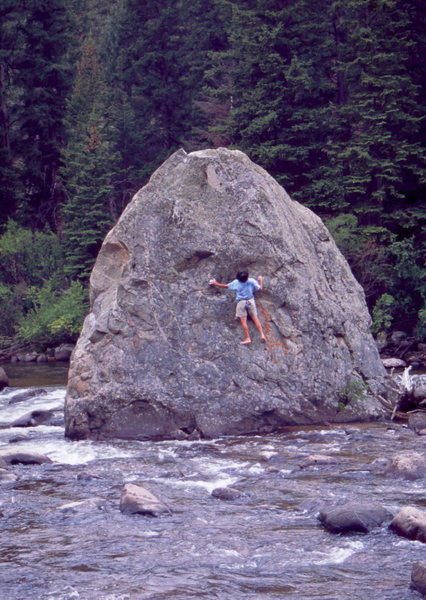 Bob Horan bouldering in the Poudre, circa 1980.