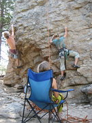 Rock Climbing Photo: Andrew and myself climbing on a beautiful summer m...