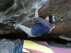 "Rock Climbing Photo: Jobot sticking the ""Speedbump"" sloper on..."