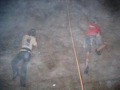 Rock Climbing Photo: Andrew and Ryan climbing by firelight