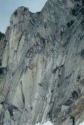 Rock Climbing Photo: Rope solo on the Mc Tech Arete.  Bugaboos.  1997? ...