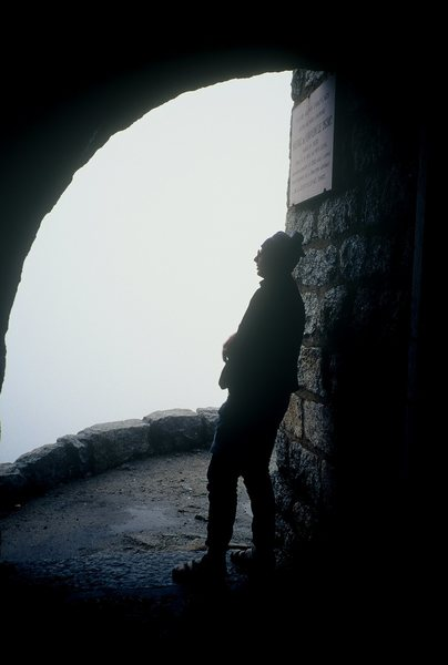 Couvercle Hut, Mike wating for the rain to stop.  Chamonix France. 2000