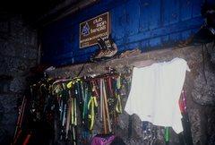 Rock Climbing Photo: Ice Axes etc. Couvercle Hut.  Chamonix 2000.