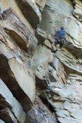 Rock Climbing Photo: Climber burning through the last of the steep stuf...