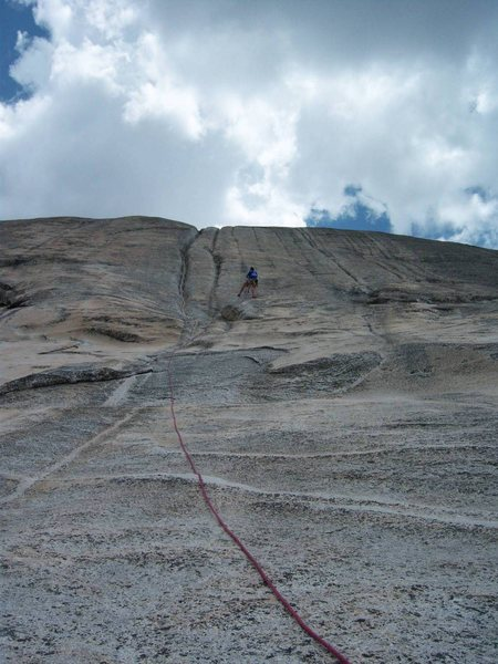 Hanging at the Belay station and checking out the Water Cracks