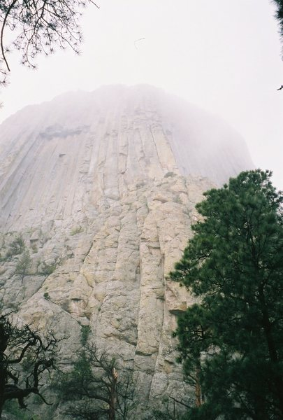 Rock Climbing Photo: Looking up at the Window (On the Left) as the fog ...
