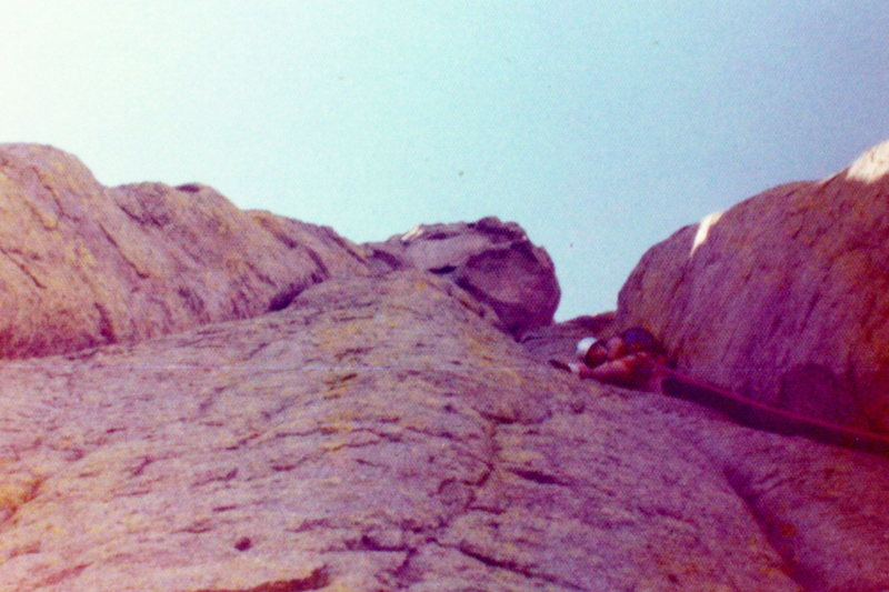 Rock Climbing Photo: BH age 15 leading up Durrance Route at Devil's Tow...