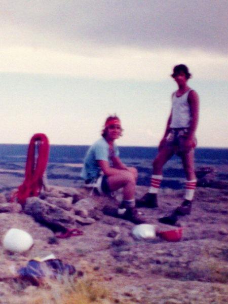 John Dobrez and Bob Horan age 15 on top of Devil's Tower, Wyoming, circa 1974.