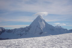 Rock Climbing Photo: Artesonraju as seen from the saddle at the start o...