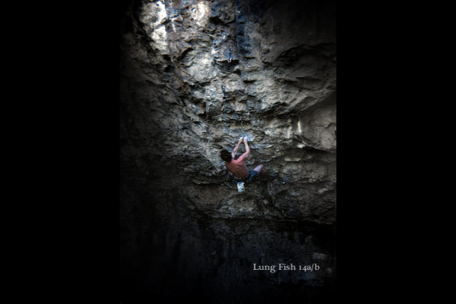 Rock Climbing Photo: Luke moving into the 1st crux on the super thin Lu...