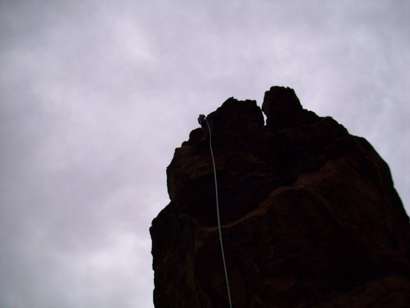 Rock Climbing Photo: John Maguire rapping down the Maiden....