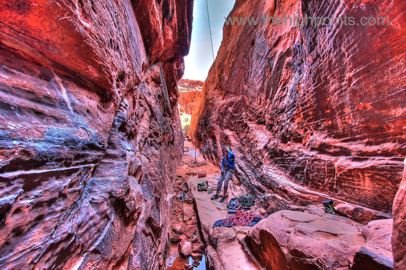 Rock Climbing Photo: Climbers in the Black Corridor, 5 frames HDR