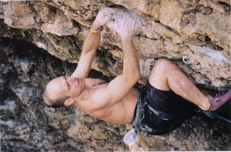 Joe Mos. entering into the crux on Natural Selction.