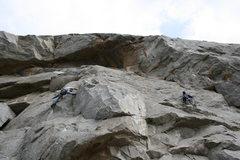 Rock Climbing Photo: Nate on Mantel Marathon and Melon on Fetal Rearran...