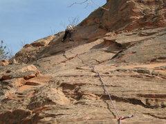 Rock Climbing Photo: Dave at the anchors.