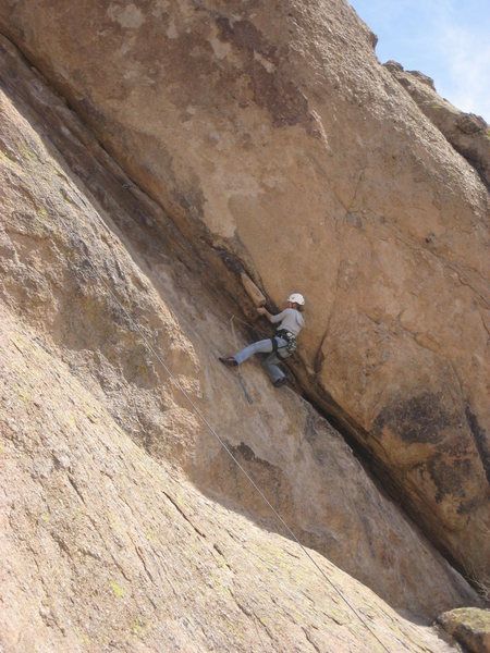 Natalie at the crux during an OMTRS training day