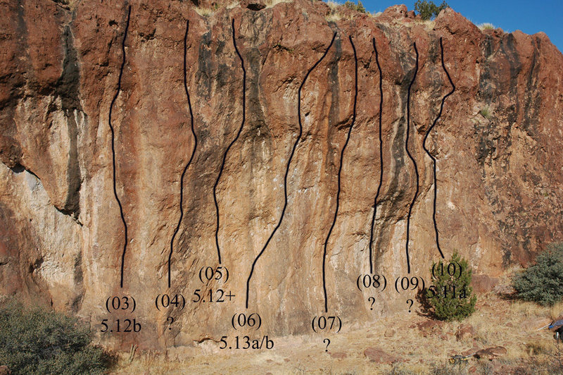 Topo of the sport routes on the Main Wall at Spook Canyon.