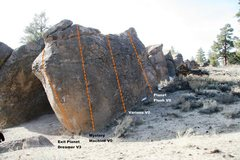 Rock Climbing Photo: Crippler Boulder East Slab Topo