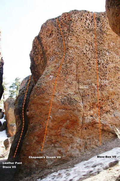 Hawkins Boulder North Face Left Topo