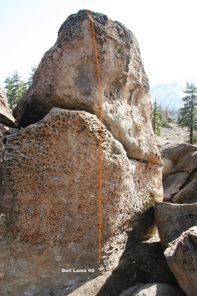 Rock Climbing Photo: Hawkins Boulder North Face Right Topo